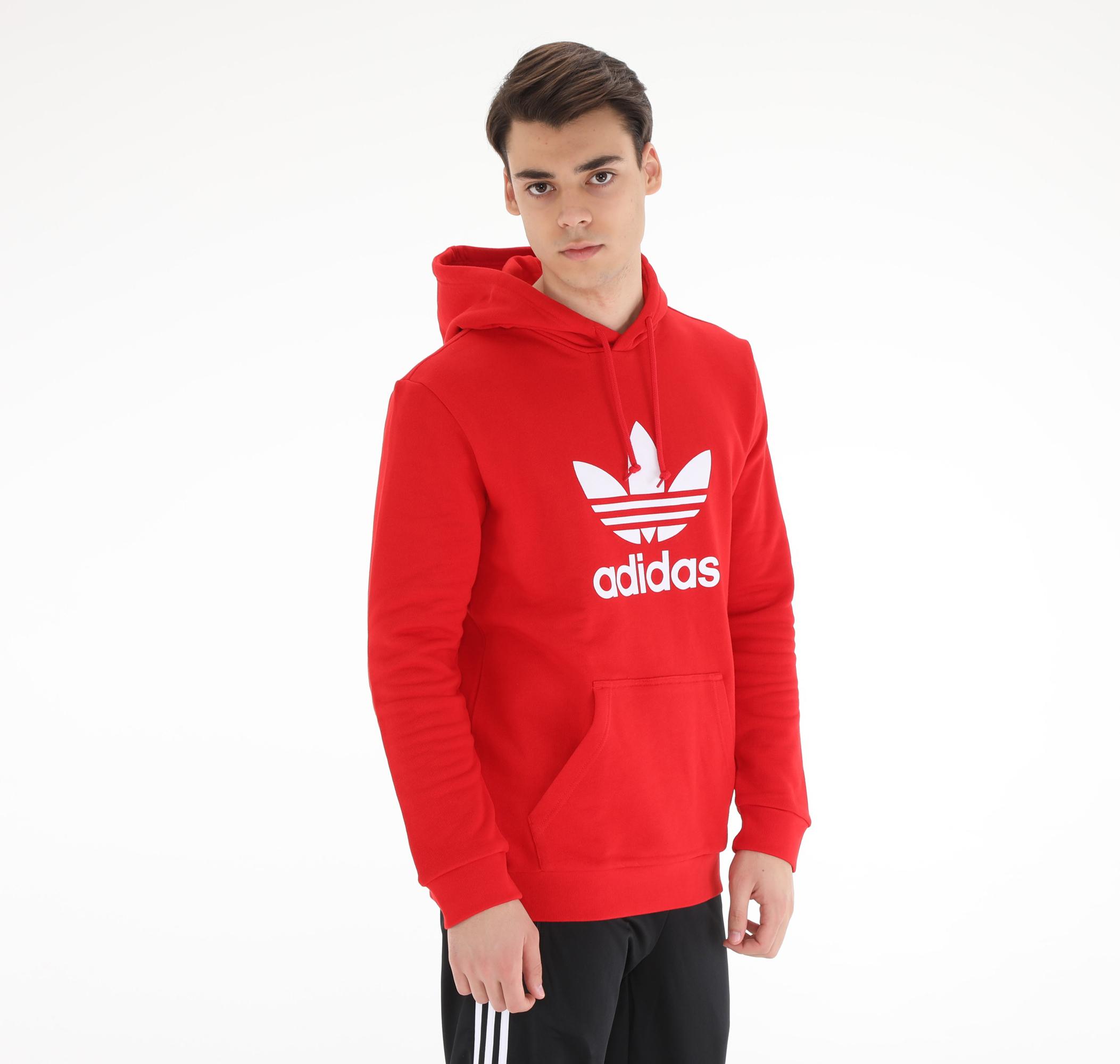 adidas Trefoıl Hoodıe Erkek Sweatshirt Kırmızı
