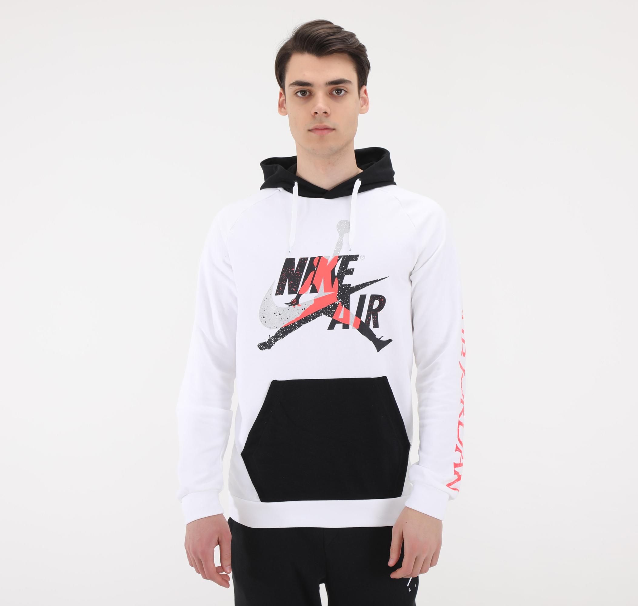 Nike M J Jumpman Clscs Ltwt Flc Po Erkek Sweatshirt Beyaz