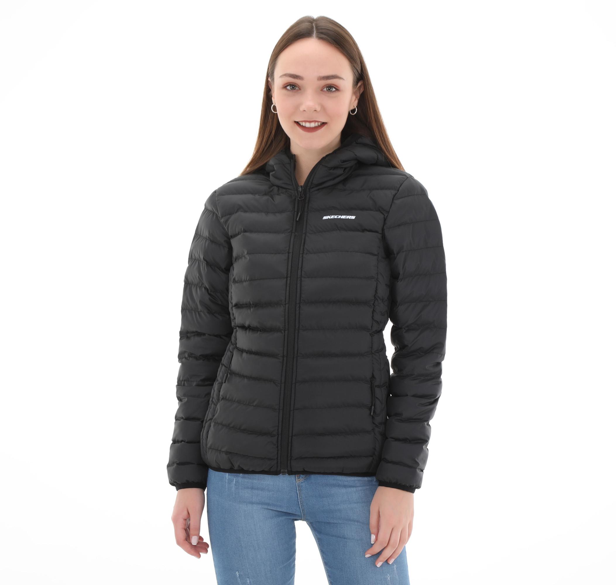 W Filled Hood Jacket Kadın Mont Siyah