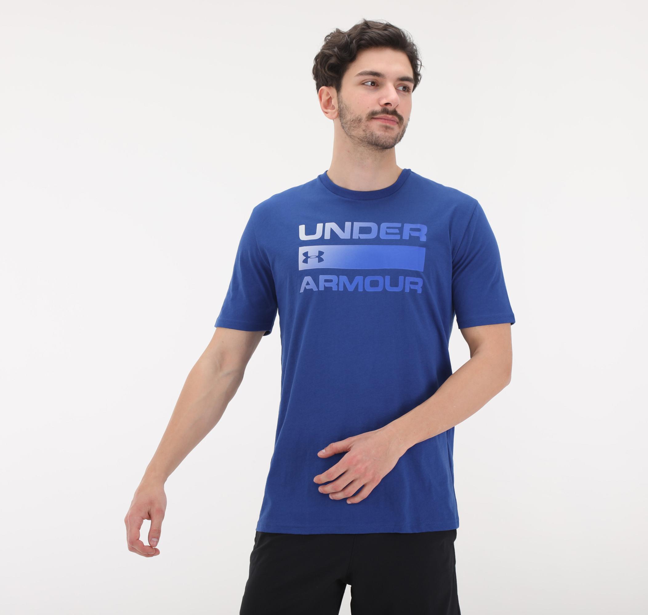 Ua Team Issue Wordmark Ss-Blu Erkek T-Shirt Mavi